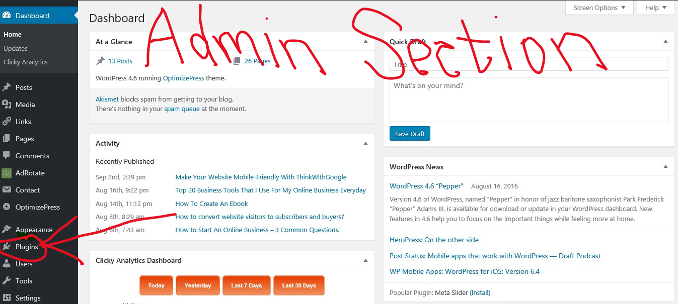 admin section of wordpress